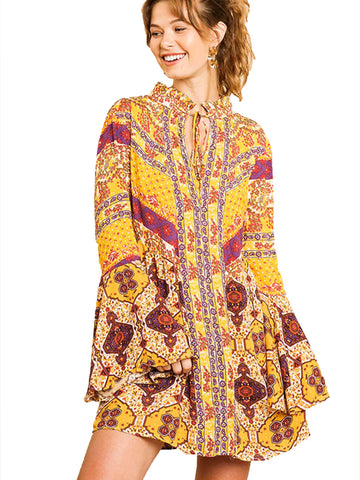 Goldenrod Glodenrod Multi-Print Trumpet Sleeve Dress