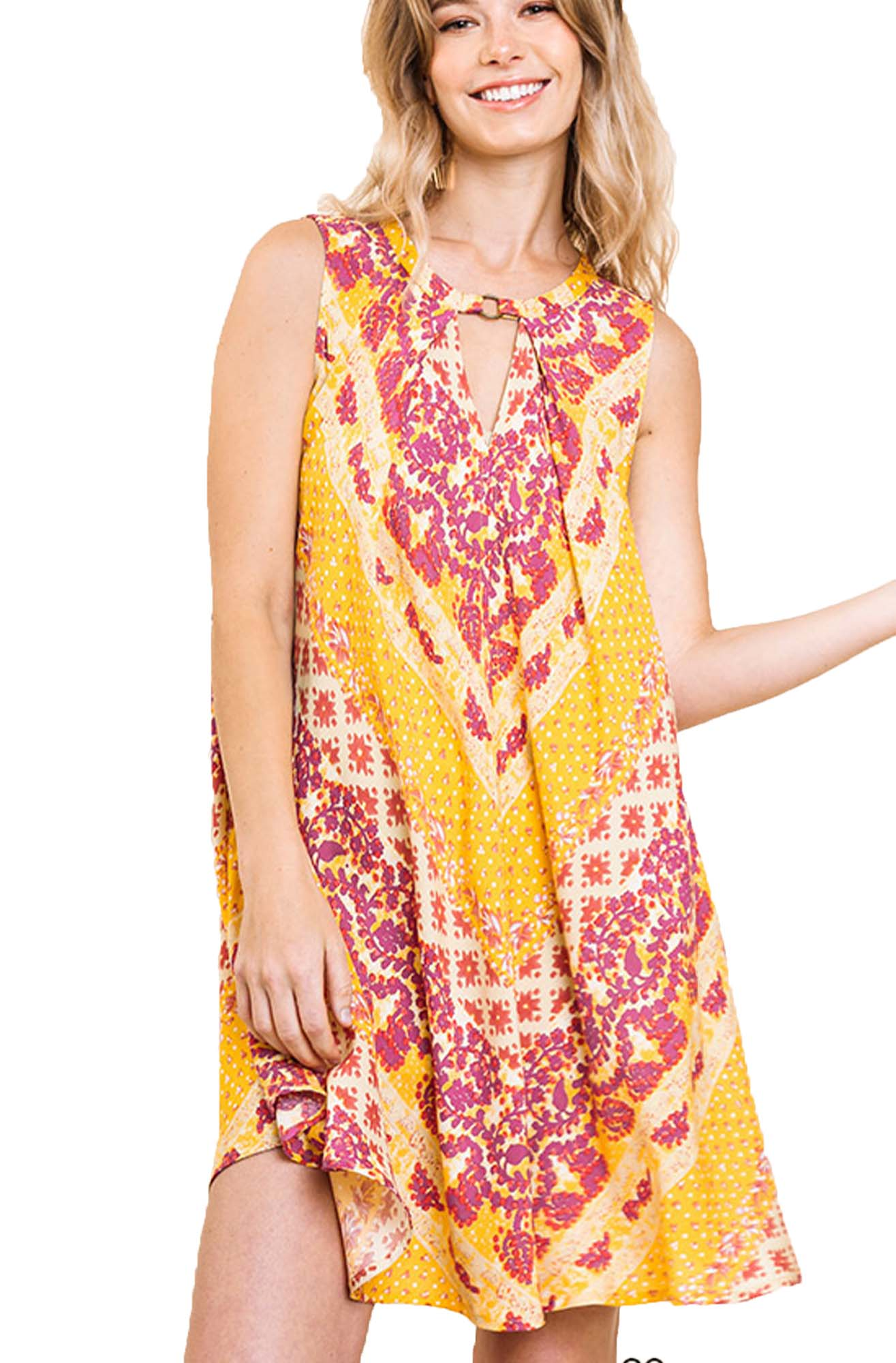 Goldenrod Pleated Multi-Print Summer Dress with Front and Back Keyholes
