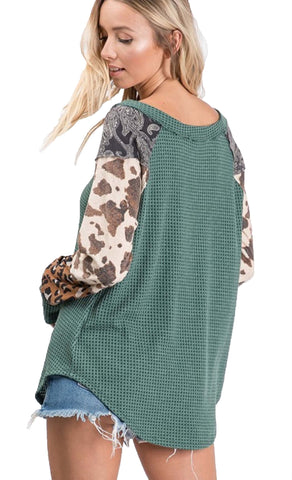Hunter Green Green Waffle knit mix print sleeve top