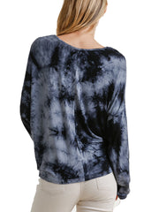 Grey Tie-Dye Lightweight Long Sleeve Top with Front Tie
