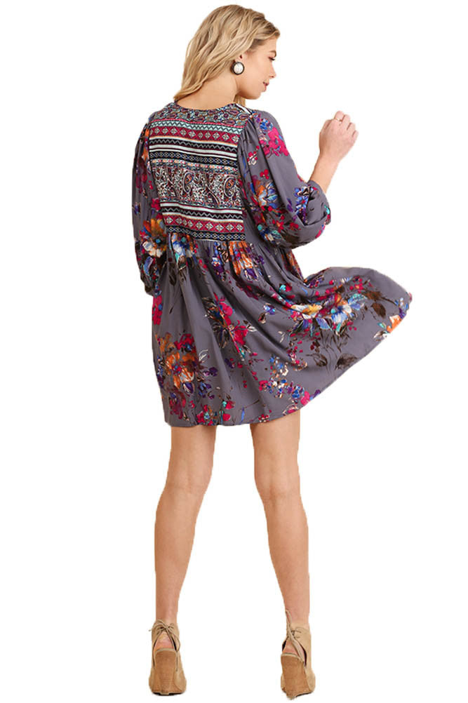 Umgee Women's GREY Floral Bohemian Tunic or Dress
