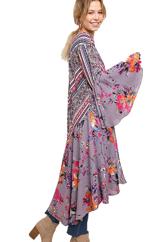 Grey Floral and Paisley Print Bell Sleeve Long Kimono