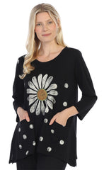 Happy Daisy Black Cotton Tunic with Pockets