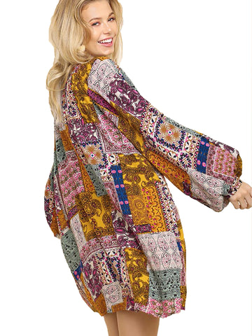 Honey Mix Multicolor Paisley Print Split Neck Dress