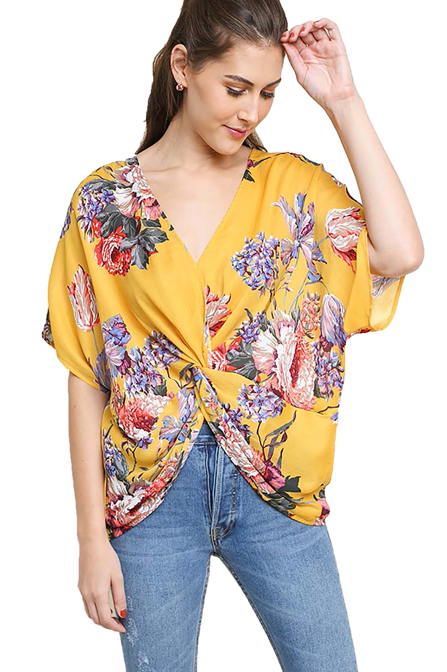 Honey Floral Reversible Dolman Sleeve Top