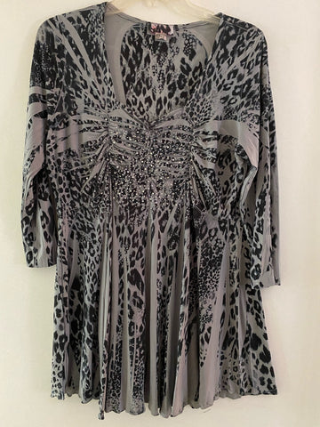 Grey Leopard Empire waist Tunic size 1X/2X
