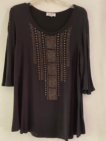 Cover Charge Black Rhinestone Slinky Tunic Size Medium