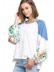 Ivory Floral Print Long Puff Sleeve Colorblock Top