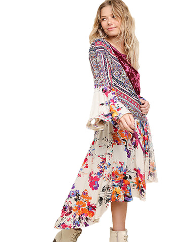 Ivory Floral and Paisley Print Bell Sleeve Long Kimono