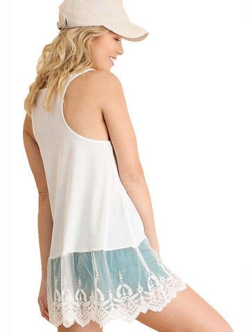 Umgee Ivory Lace Bottom Ribbed Tank