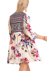 Umgee Women's IVORY Floral Bohemian Tunic or Dress