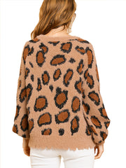 Latte Animal Print Long Puff Sleeve Fuzzy Soft Knit Round Neck Pullover Sweater