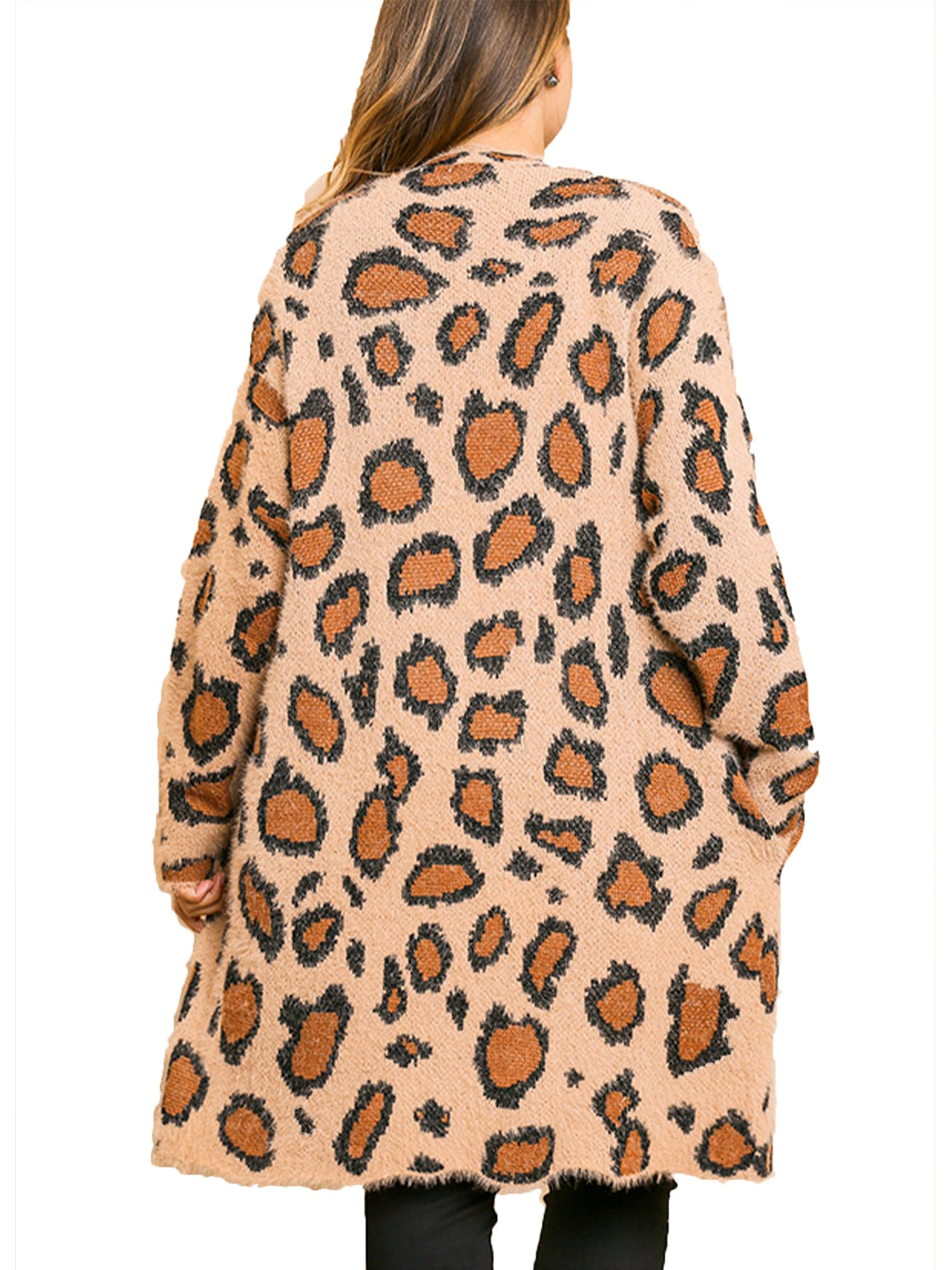 Latte Animal Print Long Sleeve Fuzzy Long Open Front Sweater Cardigan