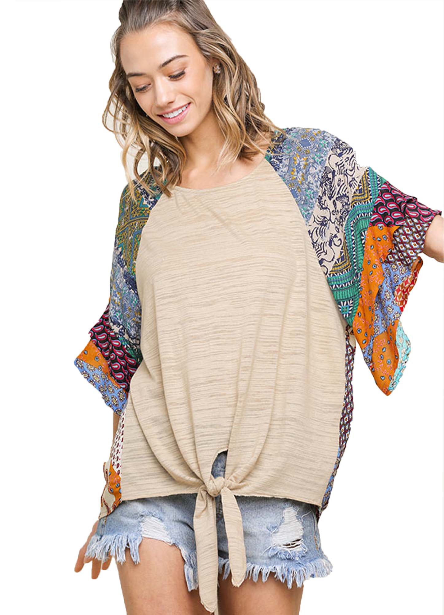 Latte Mixed Print Round Neck Heathered Knit Top