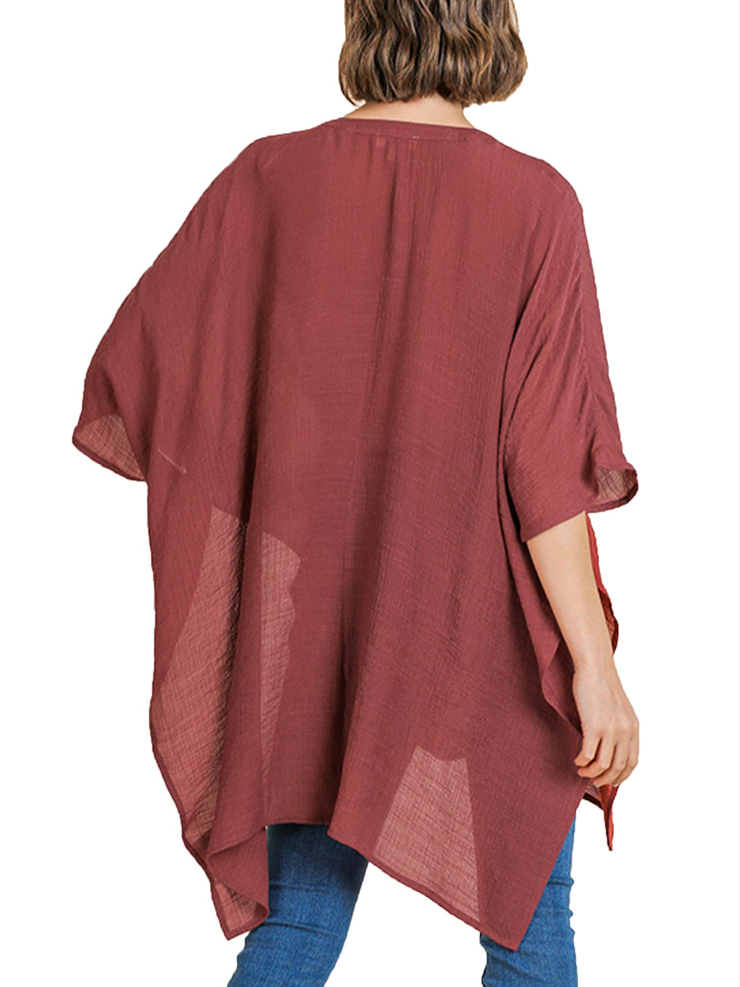 Marsala Floral Embroidered V-Neck Kaftan with Side Slits