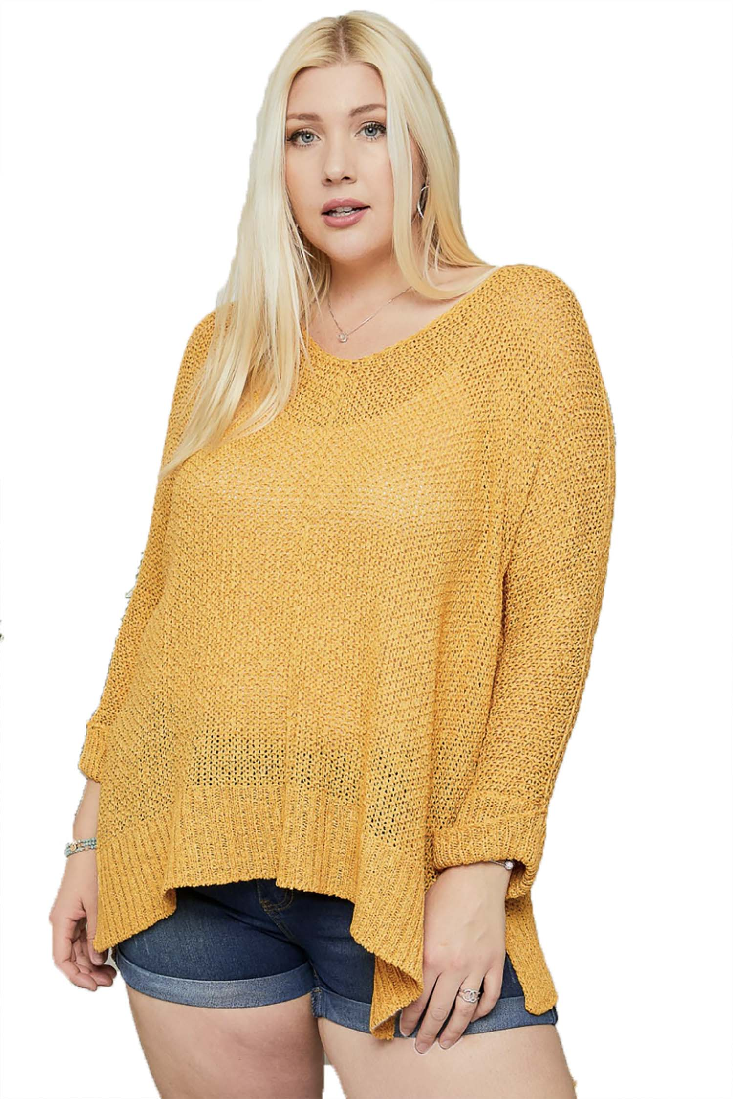 Mustard Oversize Tunic Lightweight Sweater