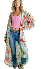 Mint Floral Print Open Front Long Kimono with Ruffle Hem
