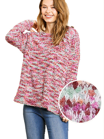 Mint Pink Multicolor Boucle Long Sleeve Pullover Sweater