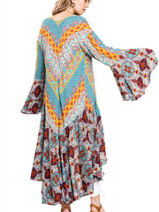 Mint Ruffled Long Body Kimono with a Multicolored Print