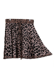 Mocha Animal Print Skirt with Drawstring and Elastic Waist Band
