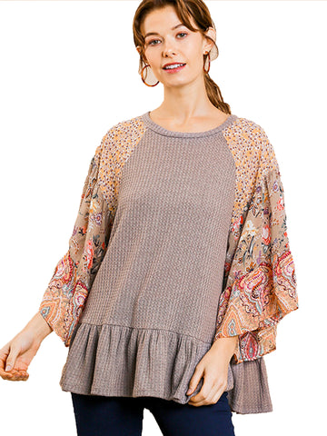 Mocha Grey Floral Paisley Mixed Print Bell Sleeve Waffle Knit Top with Ruffle Trim