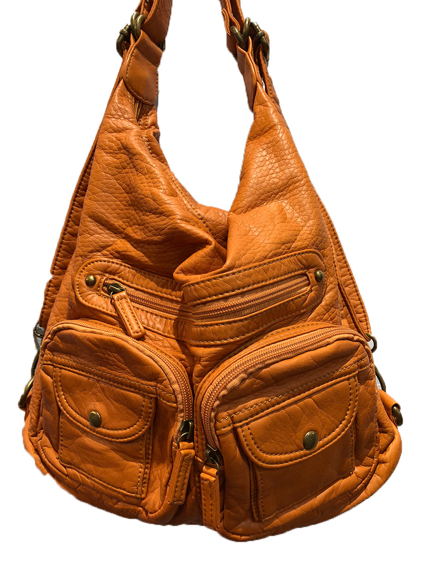Women's Vegan Leather Convertible Shoulder Bag / Backpack /Crossbody Bag