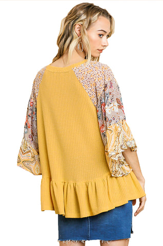 Mustard Floral Paisley Mixed Print Bell Sleeve Waffle Knit Top with Ruffle Trim