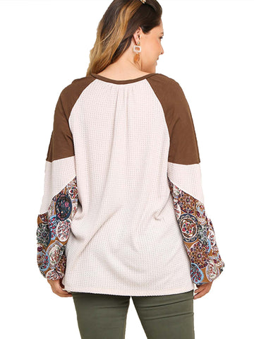 Natural Waffle Knit Top with Floral Print Puff Sleeves