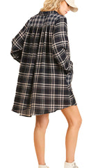 Navy Plaid Shirt Pocket Dress Tunic with Roll Up Sleeves