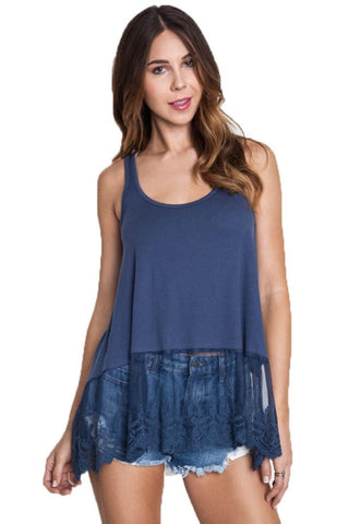 Umgee Women's NAVY Lace Bottom Ribbed Tank Top