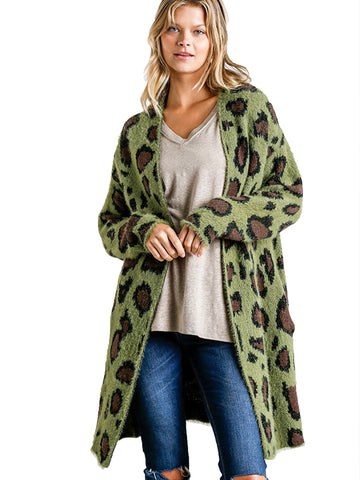 Olive Animal Print Long Sleeve Fuzzy Long Open Front Sweater Cardigan