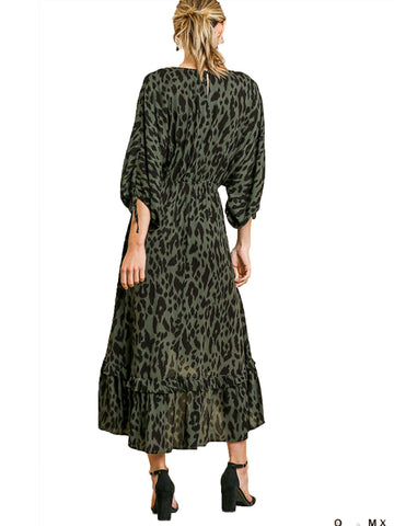 Olive Animal Print Long Puff Sleeve V-Neck Midi High Low Ruffle Hem Dress