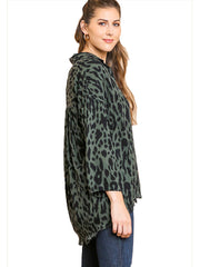 Olive Animal Print Long Sleeve V-Neck Collared Tunic with High low Frayed Hem