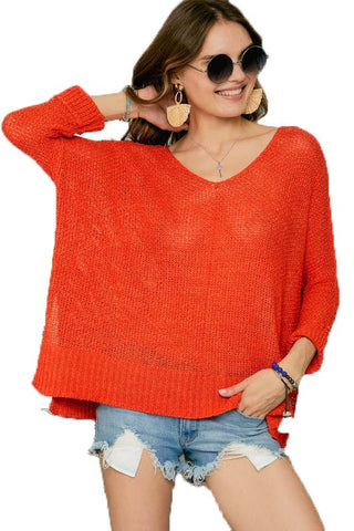 Pumpkin Oversize Tunic Lightweight Sweater