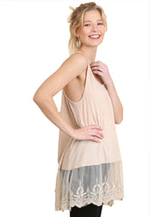 Oatmeal lace bottom Tank Top