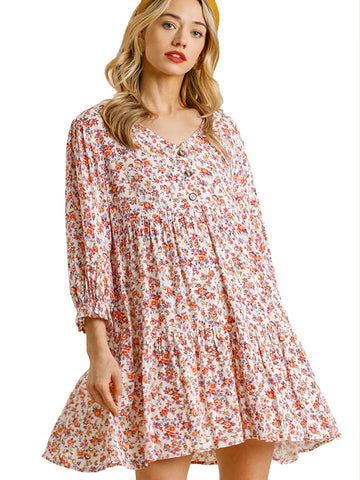 Off White Floral Print V-Neck Button Front Tiered Dress with Ruffle Tie Sleeves
