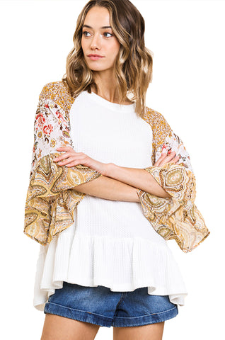 Off White Floral Paisley Mixed Print Bell Sleeve Waffle Knit Top with Ruffle Trim