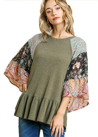 Olive Floral Paisley Mixed Print Bell Sleeve Waffle Knit Top with Ruffle Trim