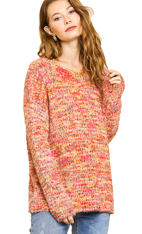 Orange Yellow Multicolor Boucle Long Sleeve Pullover Sweater