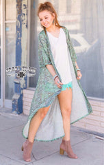 Paisley Praise Teal Duster