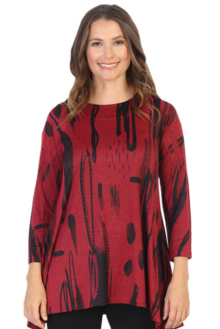 Pamela Slinky Red Knit Side Slit Tunic
