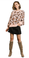 Pink Animal Print Long Puff Sleeve Fuzzy Soft Knit Round Neck Pullover Sweater