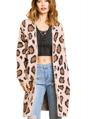Pink Animal Print Long Sleeve Fuzzy Long Open Front Sweater Cardigan