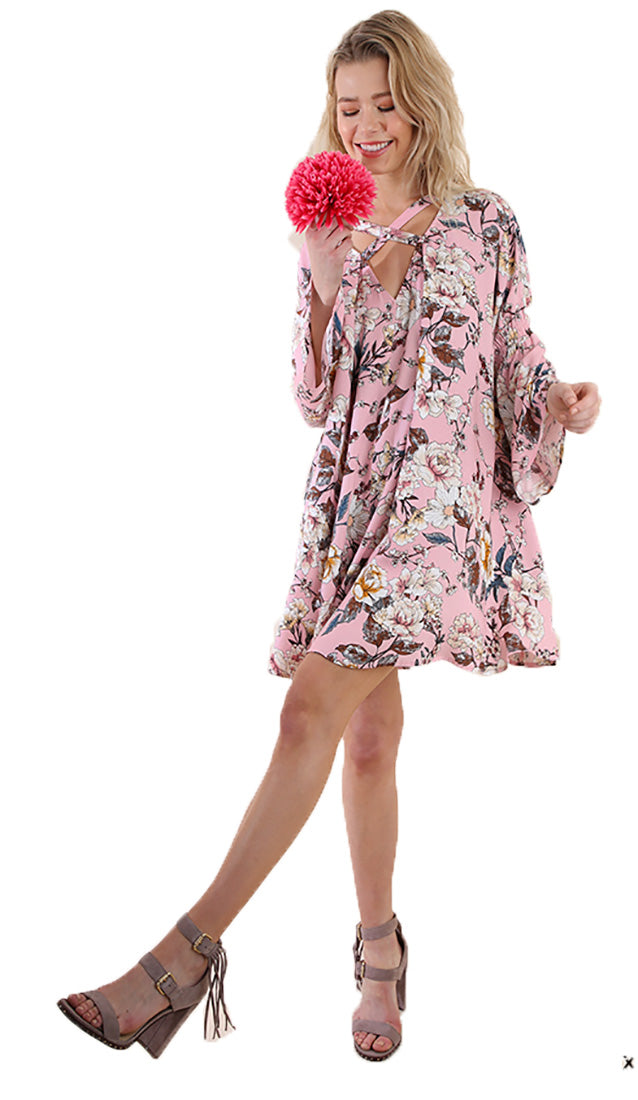 Umgee Women's Pink Floral Dress Tunic With Criss Cross Detail