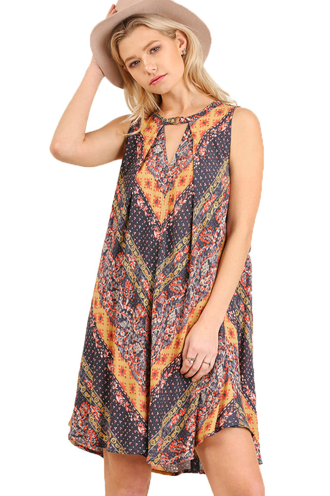 Umgee Pleated Multi-Print Summer Dress with Front and Back Keyholes