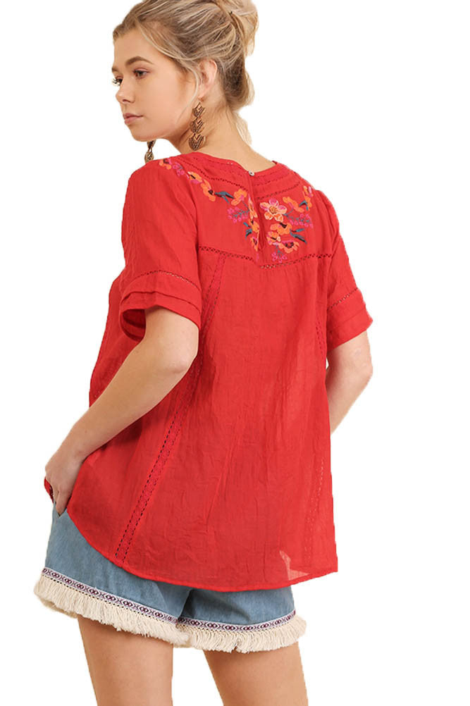 Umgee Women's RED Short Sleeve Embroidered Blouse