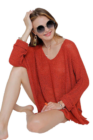 Copy of Rust Oversize Tunic Lightweight  Sweater