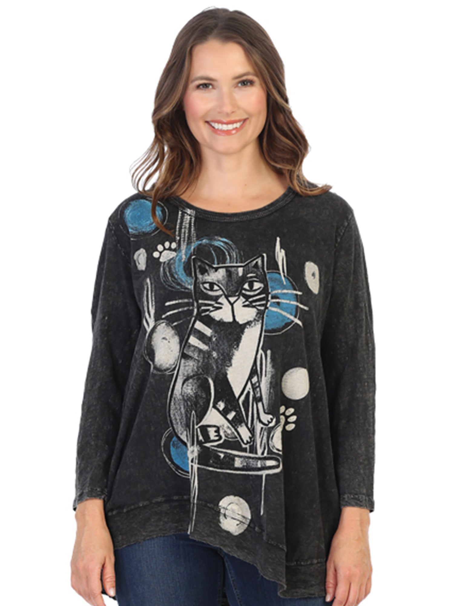 Rain Cat Printed Mineral Wash Tunic