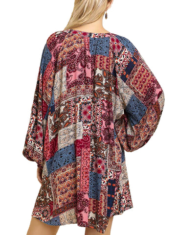Raspberry Mix Multicolor Paisley Print Split Neck Dress