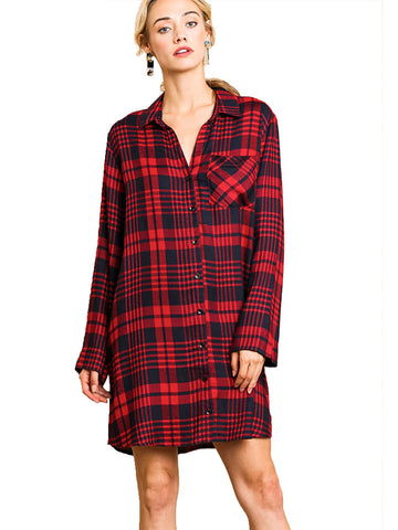 Red Flannel Plaid Print Long Sleeve Button Front Dress Tunic